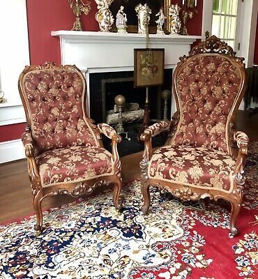 Pair of Rosewood American Rococo Arm Chairs