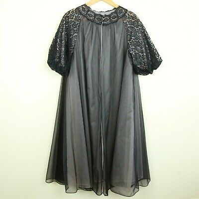 Vintage Vanity Fair All Nylon Tricot Black Lace Peignoir Robe Dressing gown 34