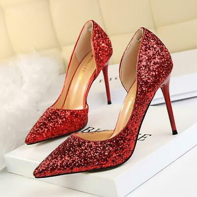 LAKESHI Sexy Women Shoes Pumps Bling Extreme High Heel Glitter Party Wedding