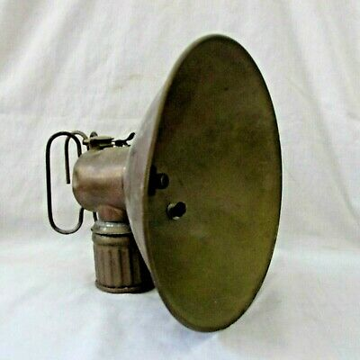 Minnesota Mining History - 1916 Justrite Miner's Carbide Lamp Large Reflector