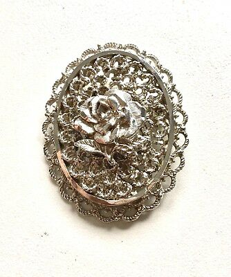 Vintage 70s Silver Plate Open Work Detail Retro Floral Brooch