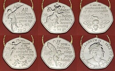 2019 Peter Pan Captain Hook Tinkerbell 50p Fifty Pence Coins Almost BUNC