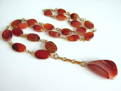 PENDANT NECKLACE of TABULAR REAL CARNELIAN AGATE STONES in OPEN BEZELS