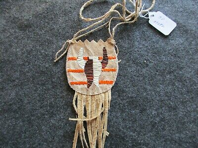 Extra Rare Native American Quilled Leather, Medicine Bundle Pouch,  Sd-03682