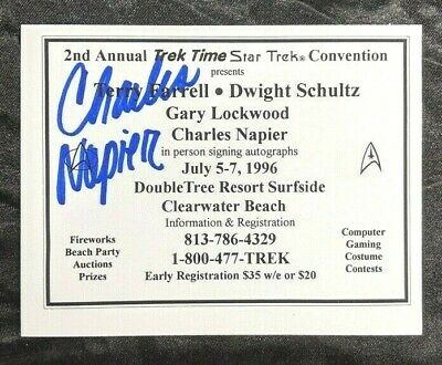 Charles Napier Adam Star Trek Original Series & DS9 Signed Convention Card 5X4