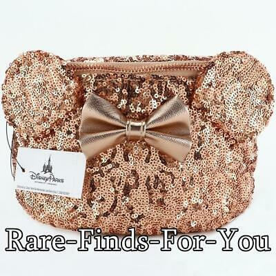 Disney Parks Rose Gold Minnie Mouse Bow Sequin Ears Loungefly Hip Fanny Pack NEW