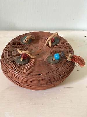 Antique Chinese Sewing Basket, 1920's, Wicker Basket, Brass Chinese Coins, Tasse