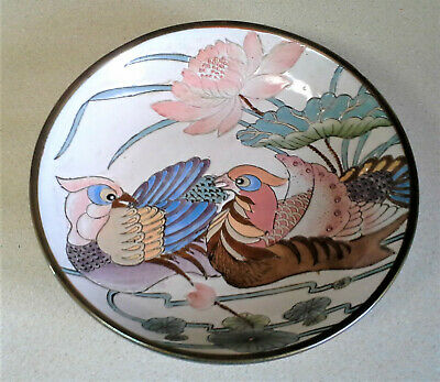 """Vintage Hand Painted Chinese Encased Brass Bowl Porcelain  Birds FLowers 7 3/4"""""""