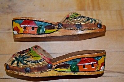 Vintage Wood Carved Painted Sandals Philippines Small Toddler Size