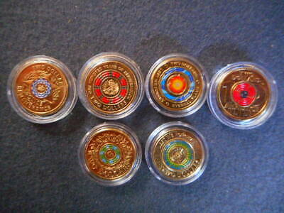 Police remembrance repatriation anzac coloured $2 coins set uncirculated