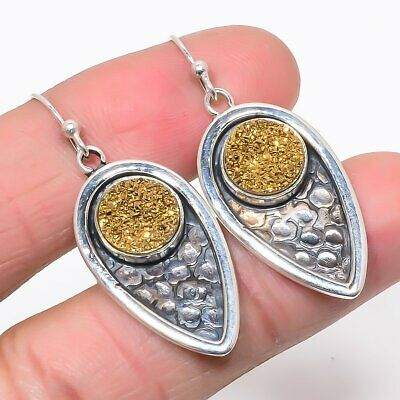 GOLDEN DRUZY Gemstone Earring 925 Solid Sterling Silver HANDMADE Indian Jewelry