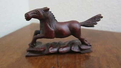 Vintage Asian Rosewood Hand Carved Wooden Miniature Horse ~ L@@K