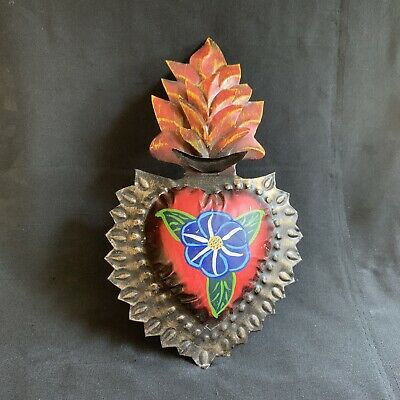 """Vintage Mexican Popular Art Hand Painted Tin Sacred Heart Plaque 9.5"""" X 5"""""""