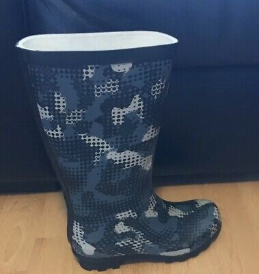 NEW Marks And Spencer Jnr Navy Graphic Wellington Boots UK Size 13
