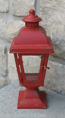 Galvanized RED LANTERN Candle Holder*Primitive/French Country/Farmhouse Decor