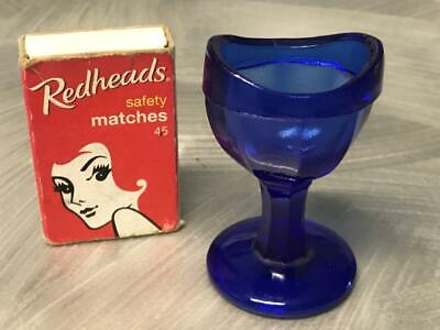 Old Vintage Cobalt Blue Eyewash Glass Cup Apothecary Medical Eye M9 Mid Century