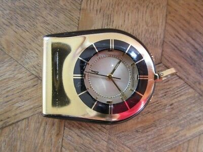 Vintage Gold Plated Jaeger Lecoultre Travel Alarm Clock. Cal. 911.
