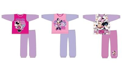Girls Kids Minnie Mouse Pyjamas Nightwear PJs Cotton Long Sleeve Pink Gift Idea