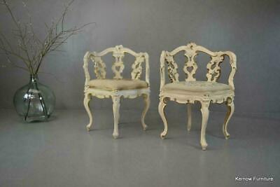 Antique Pair Ornate White & Gold Rococo Style Corner Chairs