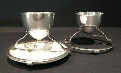 Antique Hukin & Heath silver plate egg cups - Christopher Dresser style
