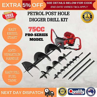 75CC Giantz Petrol Post Hole Borer Fence Digger Drill 3 Augers And 3 Extensions