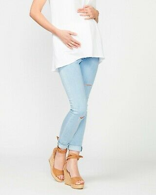 PEA IN A POD Margot Distressed Skinny Jeans SKY WASH BNWT SZ 8 FREE POST (G97)
