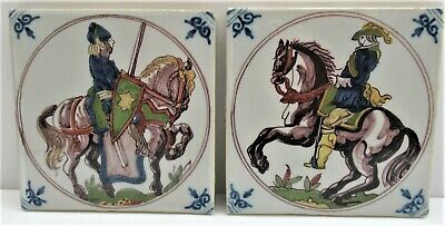 """Pair of good reproduction Delft 5"""" tiles, early 17th century style, marked"""