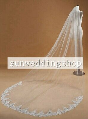 Remarkable White/Ivory 1 Tier Cathedral Length Lace Edge Wedding Bridal Veil