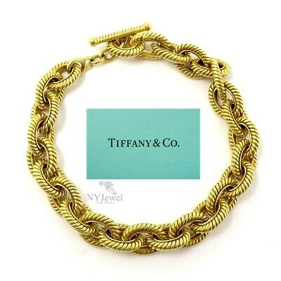 NYJEWEL Tiffany & Co 18K Yellow Gold Unisex 10mm Wide Heavy Bracelet 50.1 Grams