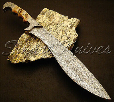 Beautiful Custom Hand Made Damascus Steel Hunting Sword Knife Handle Ram Horn