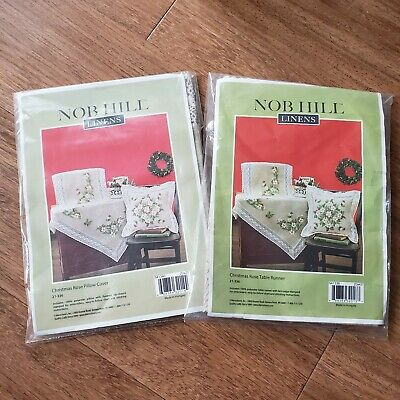"""NOB HILL """"Christmas Rose"""" Table Runner & Pillow Embroidery Kits :holly chickadee"""