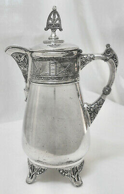 Atq c1800's PAIRPOINT MFG CO #300 Victorian Ftd Slv Plate Syrup/Creamer Pitcher