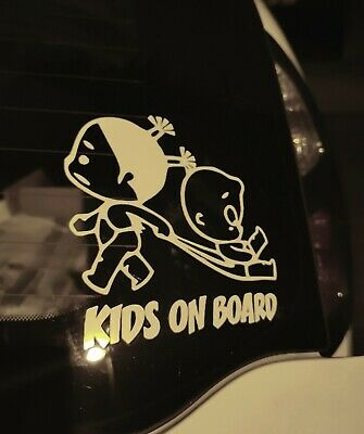KIDS ON BOARD Baby Child Window Bumper Car Sign Decal Sticker