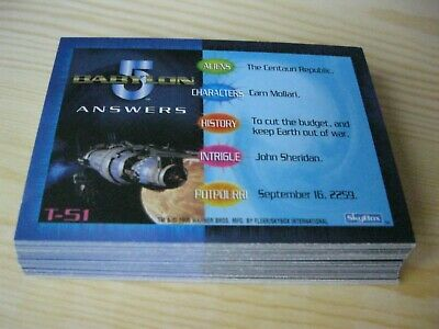 Babylon 5 Special Edition Trivia Inserts   #T51 - #T86 Trading Cards Mint