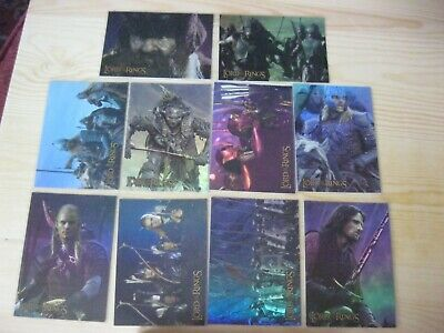 Topps Lotr  The Two Towers Prismatic Foil Complete 10 Set Trading Chase Cards