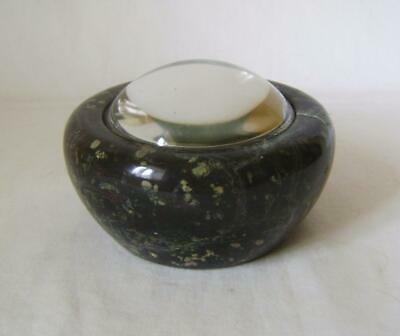 Good Vintage Cornish Serpentine Turned Stone & Domed Glass Paperweight 10.5 cm
