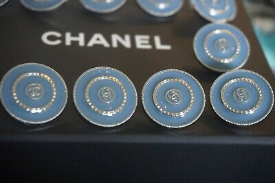 💙 CHANEL  BUTTONS  18  mm 0,7  inch LOT 12  BLUE  & SILVER  LOGO CC