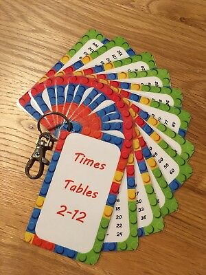 Times Tables Flash Cards - Home School Maths Resource - Pocket size - KS1 KS2