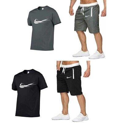 New Mens Gmy Jogging Sport Short Sleeve Set T Shirt Top Shorts Suits Tracksuits