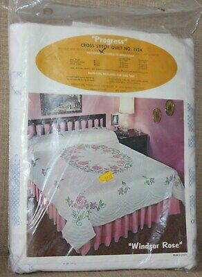 "Progress Cross Stitch Quilt Pattern #1524 Windsor Rose Double 90"" x 103"" New"