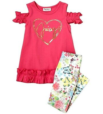 JUICY COUTURE girl 2pc foil ruffle pink TUNIC & floral LEGGINGS 2Y 3Y 4Y BNWT