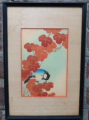 Antique ITO SOZAN Blue & White Bird with Red Leaves WOODBLOCK PRINT -  Japanese