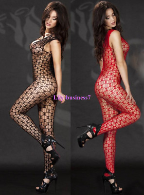 Womens Sexy V Neck Fishnet Open Crotch Footless Body Stocking Nightwear Lingerie