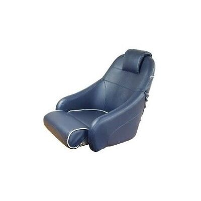 LINDEMANN comfortable foldable helm seat white with blue piping