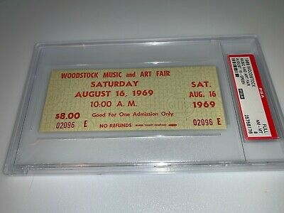 Woodstock Authentic 1969 Psa 8 Saturday Ticket Janis Joplin Jimi Hendrix Santana