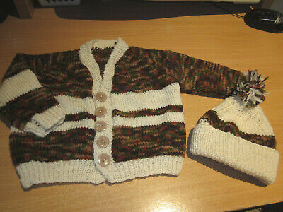 Boy's Hand Knitted Baby Cardi & Hat Size 000  New Without Tags