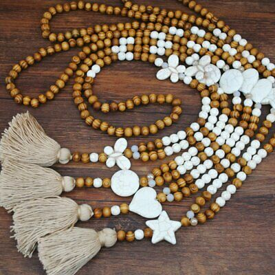 Handmade Turquoise Nepal Buddhist Mala Beads Ethnic Pendant Sweater Necklace