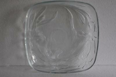 A Lovely Large Square Clear Glass Leaf Patterned Dish Or Fruit Bowl.
