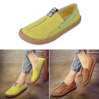 Women's Loafers Moccasin Casual Flat Pumps Suede Shoes Ladies Boat Slip On Shoes