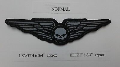 """1 PC """"S"""" Size REFLECTIVE SKULL ON WINGS EMB PATCH 6-3/4x1-3/4"""" SEW-ON"""